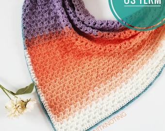 CROCHET PATTERN - Tutti Frutti Scarf, US Term, Asymmetrical Scarf, Triangle Scarf, Beginner Friendly, Crochet Scarf, One Skein Pattern
