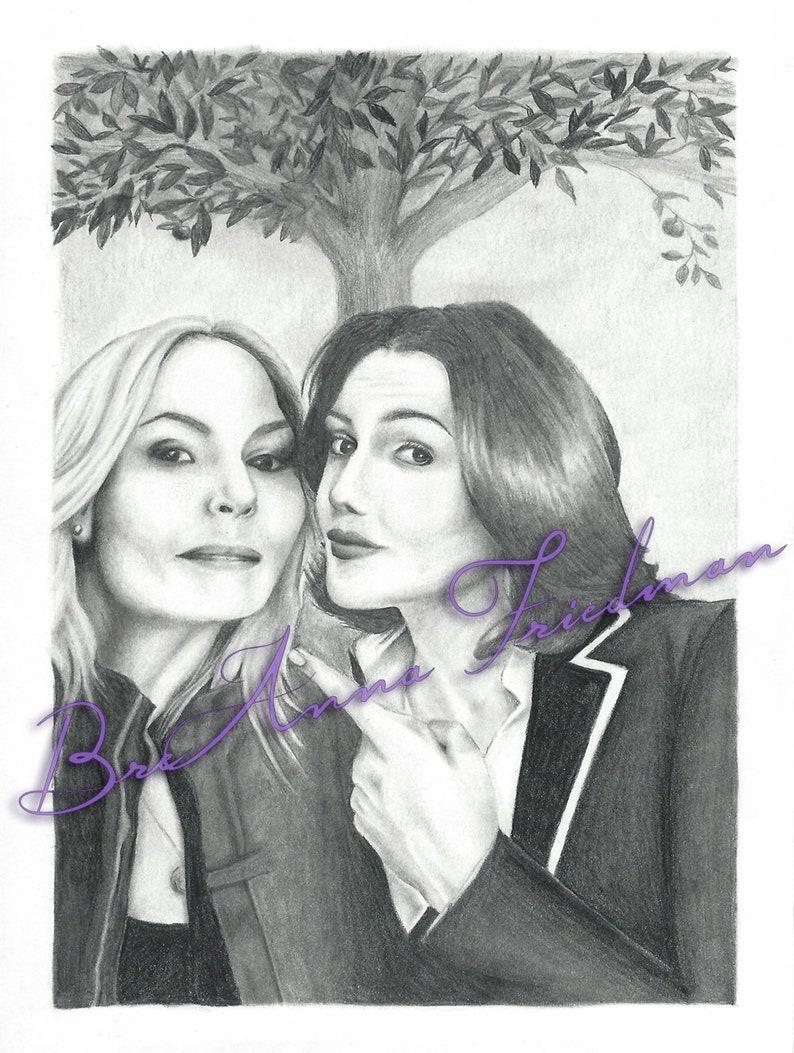 SwanQueen Selfie With the Mayor Original Sketch 5x7