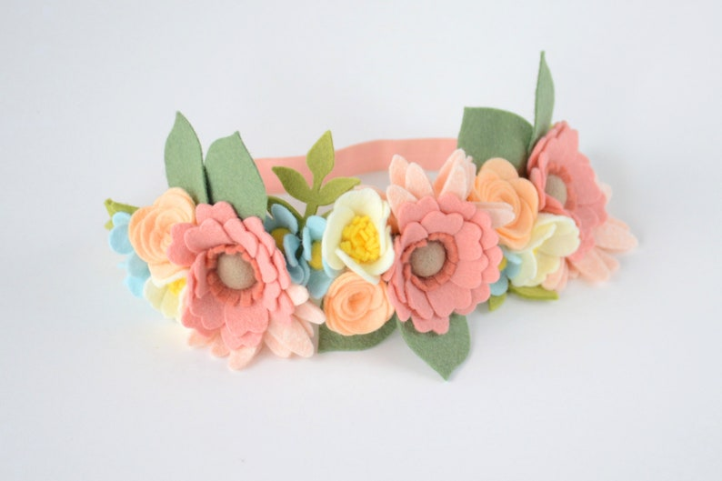 Felt Floral Crowns Toddler Headpiece Baby Gift family photos Big Sister Little Sister PASTEL SET- Mommy /& Me Flower Headband