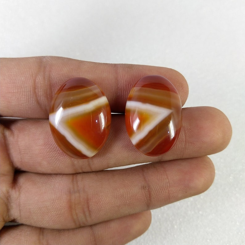 Natural Banded stone pair loose cabochon pair lot Agate cabochon jewelry supplies earring making cabochon AAA Quality gemstone pair