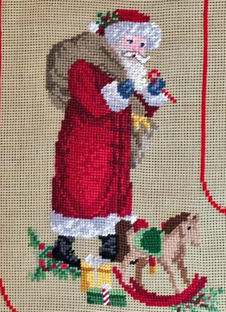 Preworked Needlepoint Christmas Stocking Antique Santa #5