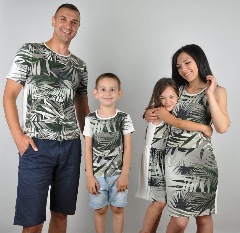Jungle family matching outfits t-shirt father and son dresses mother and daughter mom and baby mother and son matching summer tropical print