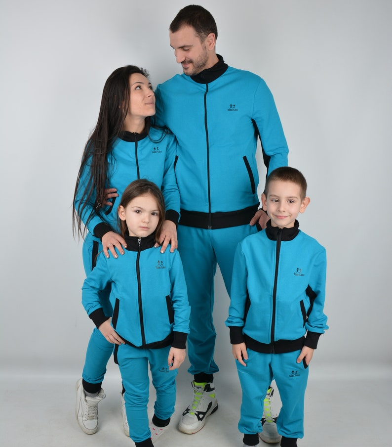 Matching Brother Sister Casual Outfit Boys Girls Blue Tracksuit Matching Siblings Outfit Kids Sweatsuit Joggers Swearshirt Baby Toddler