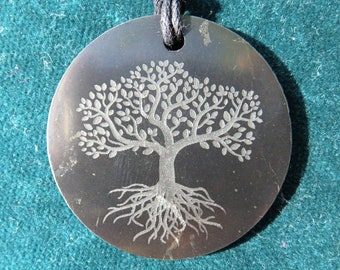 SHUNGITE Tree of Life, Flower of Life Pendant, YinYang, Donut Shield: EMF-Protection from 5G, WLan, Smartphone, cordless phones, Laptop PC