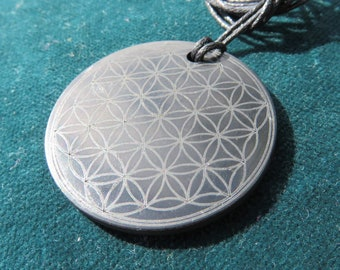 SHUNGITE Flower of Life Pendant, Tree of Life, YinYang, Donut Shield: EMF-Protection from WLan, WiFi, Smartphone, cordless phones, Laptop PC