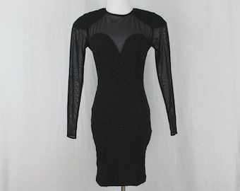 939ce1b65ac Vintage Dress 80s 90s Black Illusion Bodycon Sheer Back   Sheer Arms Dress  Size Small 4 Susan Roselli for VIJACK