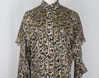 c5aacd88e71d71 Vintage Adrianna Papell Gold Metallic Leopard Print Ruffled Silk Blouse 4