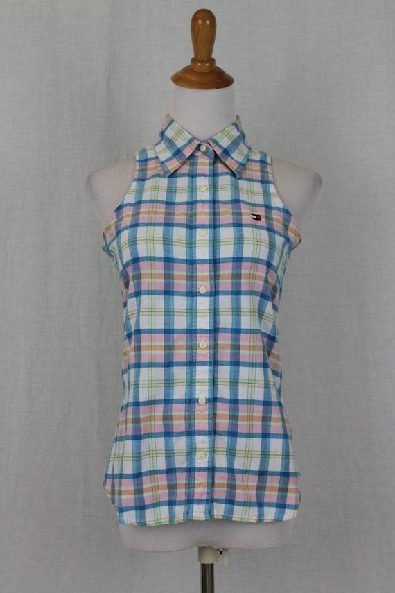 Vintage Tommy Hilfiger Madras Plaid Sleeveless But