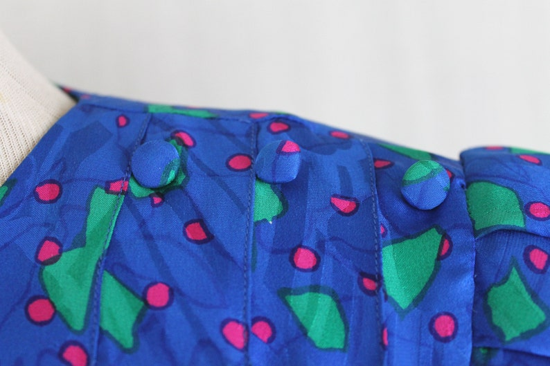 Vintage Flora Kung 1930s Inspired Blue Silk Shift Dress Size Small
