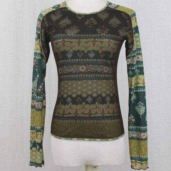 Vintage ANAC Layered Mesh Long Sleeve Top Small 1… - image 1