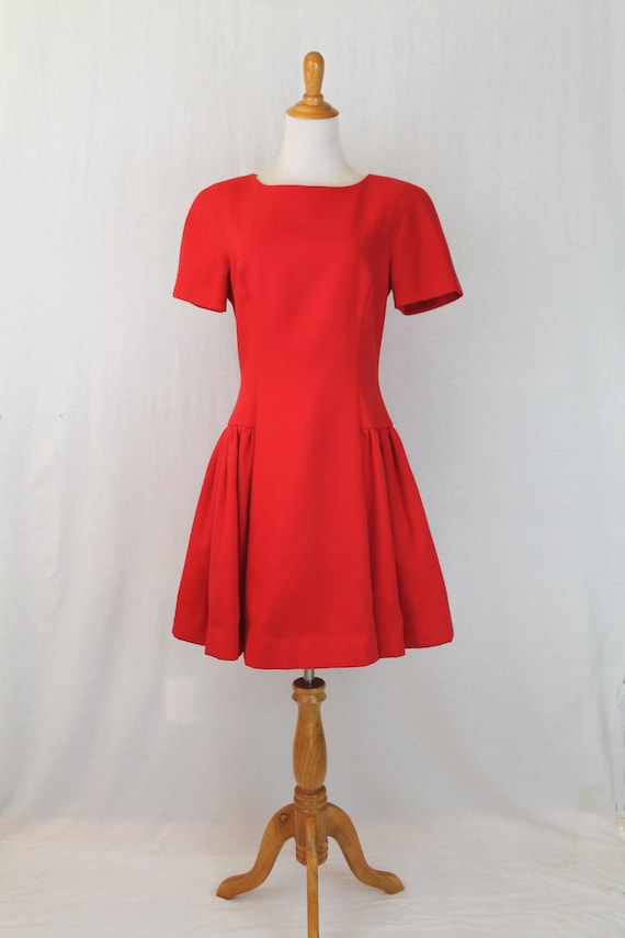 Vintage Arnold Scaasi Red Pique Pleated Fit and Fl