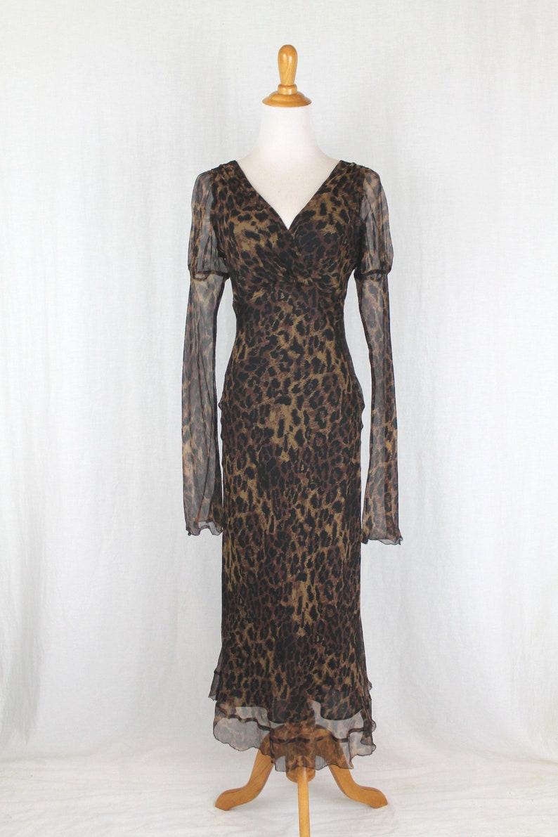1c3c57c956183 Nicole Miller Long Bias Cut Silk Leopard Print Dress With | Etsy