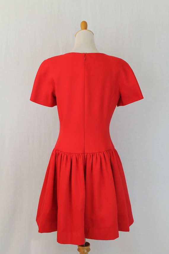 Vintage Arnold Scaasi Red Pique Pleated Fit and F… - image 5