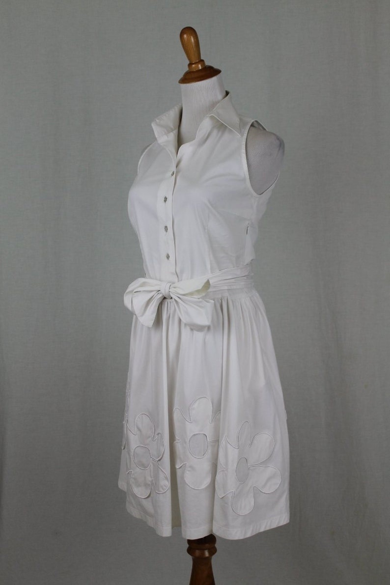 Vintage Walter Voulaz Italy Sleeveless White Stretch Cotton Retro Shirtwaist Dress 40 4