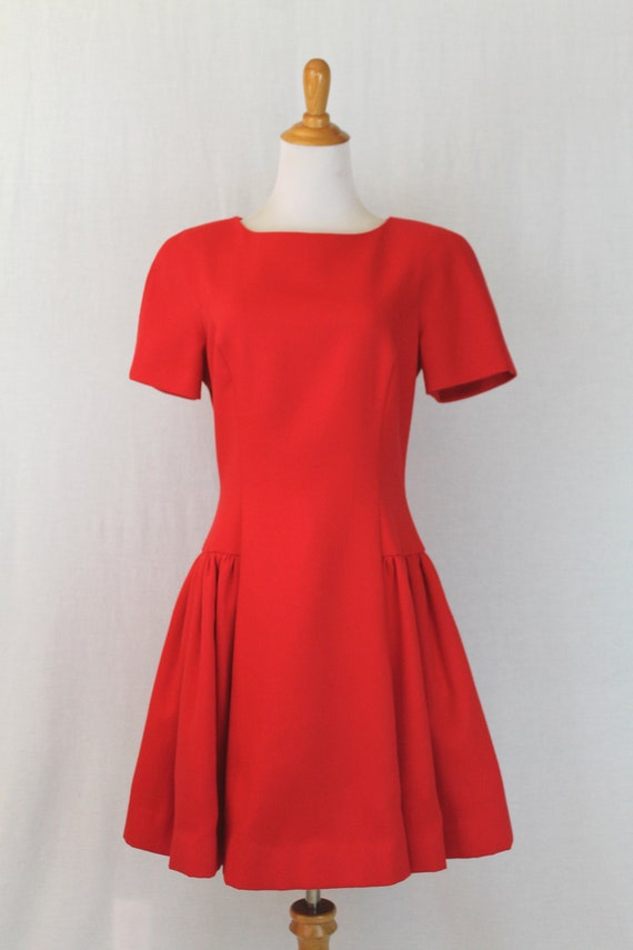 Vintage Arnold Scaasi Red Pique Pleated Fit and F… - image 2