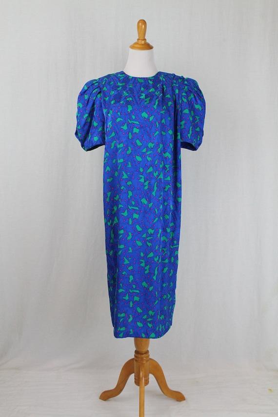 Vintage Flora Kung 1930s Inspired Blue Silk Shift