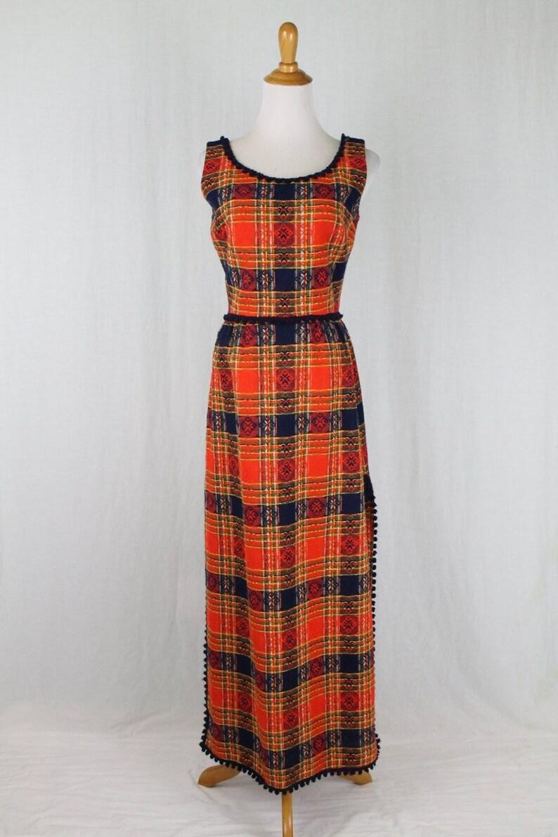 afa1b46002 Vintage Parade New York Orange Tweed Plaid Hostess Dress XS S | Etsy