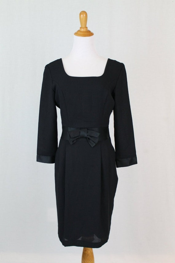 Dress Black Wool neck LAURA sleeve 4 ASHLEY Cocktail 3 Blend Vintage 6 Square Small AwPHqCC