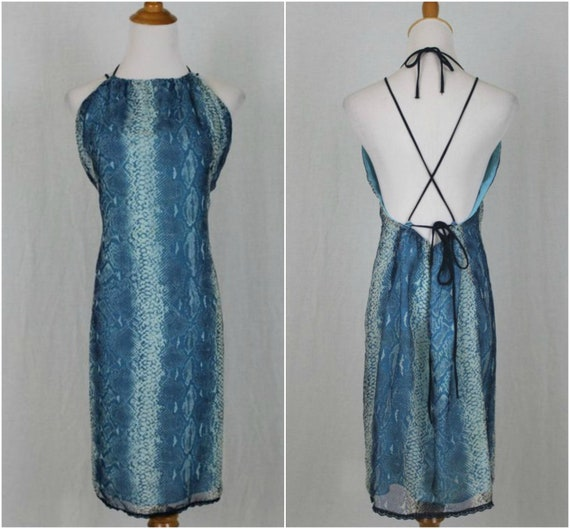 Vintage 1990s Max Studio Strappy Blue Backless Sli