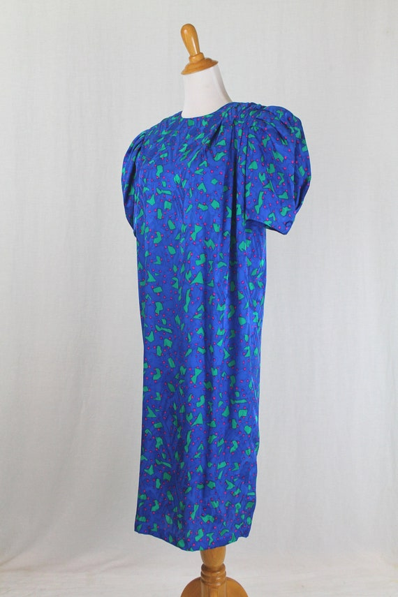 Vintage Flora Kung 1930s Inspired Blue Silk Shift… - image 3