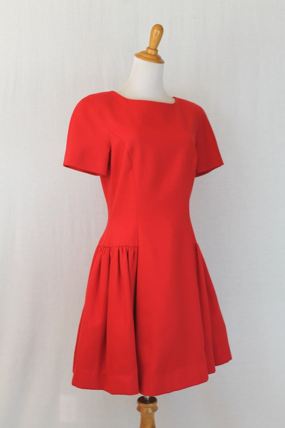 Vintage Arnold Scaasi Red Pique Pleated Fit and F… - image 4