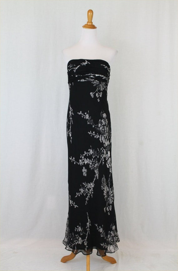 Vintage David Meister Black and White Silk Chiffon Strapless Maxi Dress Gown 6 Small