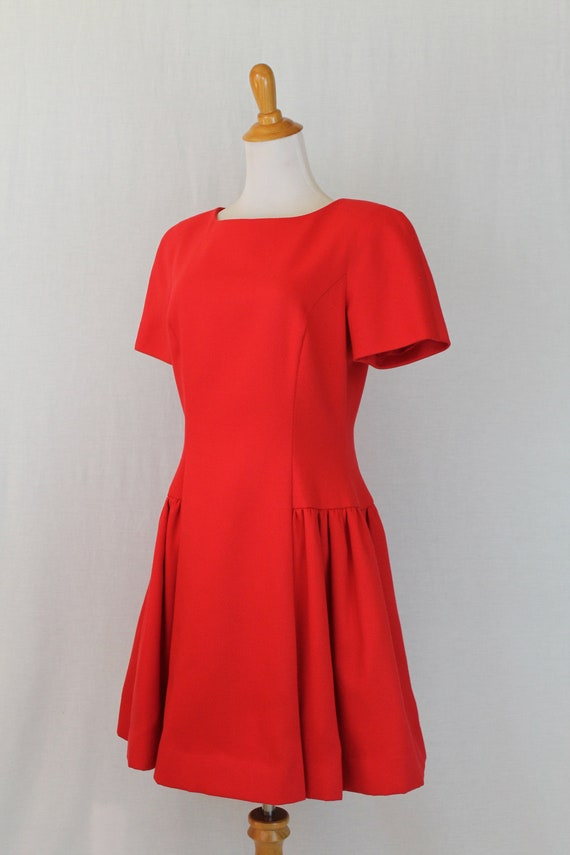 Vintage Arnold Scaasi Red Pique Pleated Fit and F… - image 3