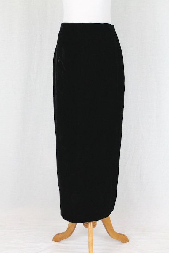 Vintage Norma Kamali Long Black Velvet High Waist