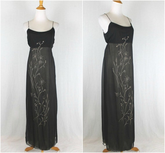 Vintage Rozae Nichols Embroidered Silk Gown