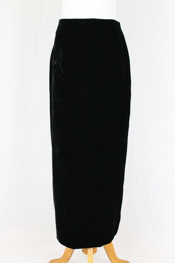 Vintage Norma Kamali Long Black Velvet High Waist… - image 2