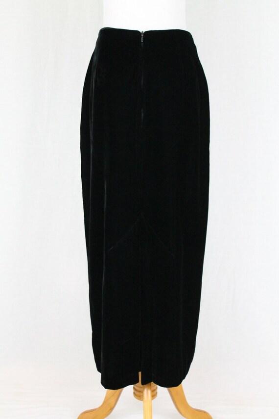 Vintage Norma Kamali Long Black Velvet High Waist… - image 4