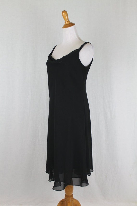 Vintage Evan Picone Beaded Sleeveless Black Georgette Mid Calf Dress NEW Size 6 Small