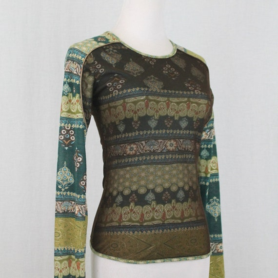 Vintage ANAC Layered Mesh Long Sleeve Top Small 1… - image 3