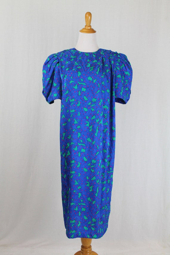Vintage Flora Kung 1930s Inspired Blue Silk Shift… - image 2