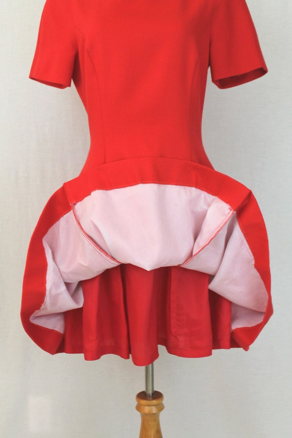 Vintage Arnold Scaasi Red Pique Pleated Fit and F… - image 6