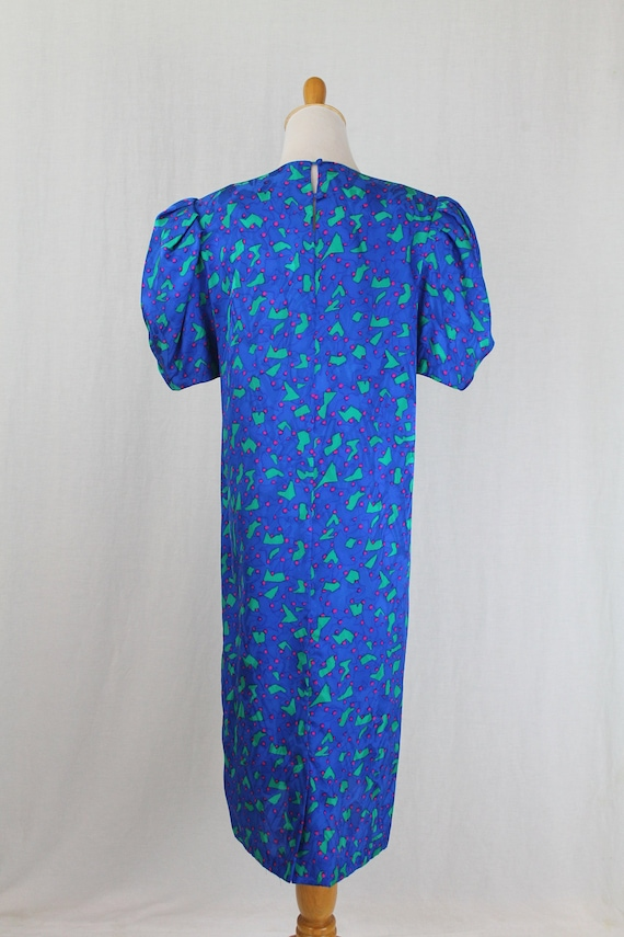 Vintage Flora Kung 1930s Inspired Blue Silk Shift… - image 5