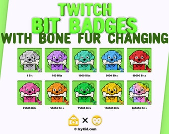 Twitch Bit Badges - Puppy With Bone Fur Changing Color
