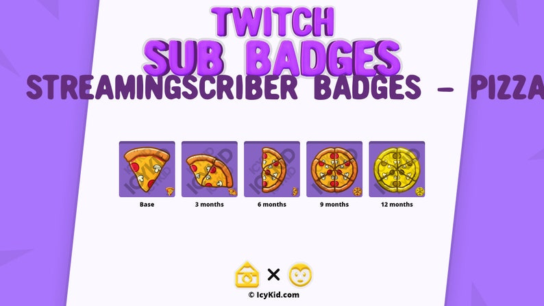 Twitch / Streaming Subscriber Badges  Pizza Slices image 0