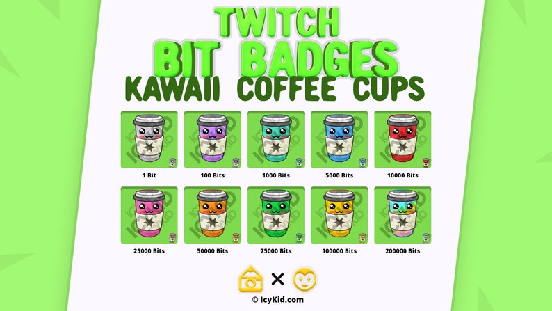 Twitch / Streaming Subscriber Badges  Kawaii Coffee Cups image 0