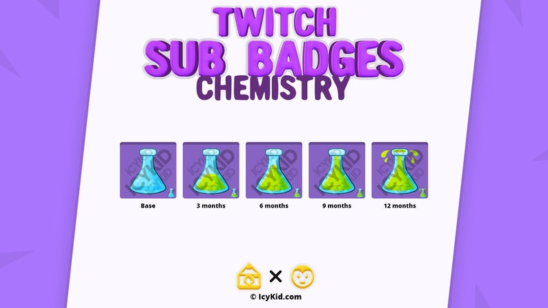 Twitch / Streaming Subscriber Badges  Chemistry image 1