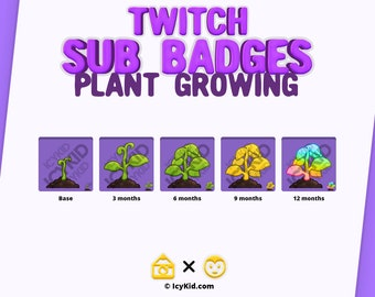 Twitch / Streaming Subscriber Badges - Plant Growing