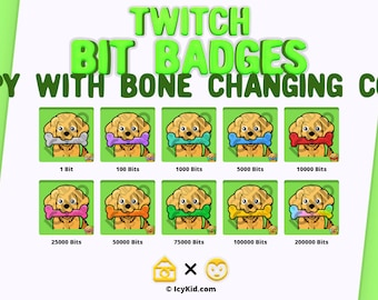 Twitch Bit Badges - Puppy With Bone Changing Color