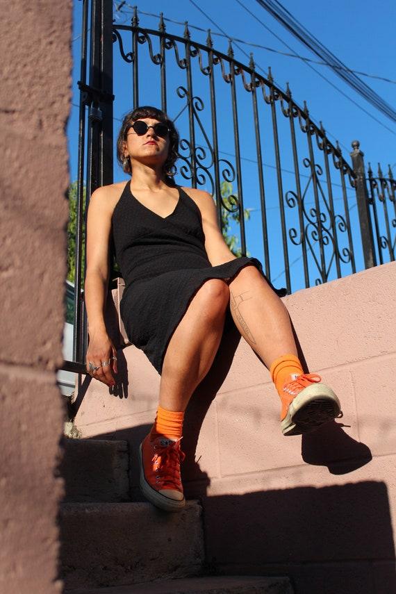 Vintage Betsey Johnson swiss dot black halter dres