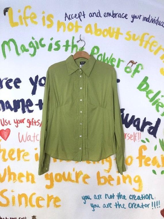 Y2K DOLCE & GABBANA Green Tuxedo Blouse As Is. Ext