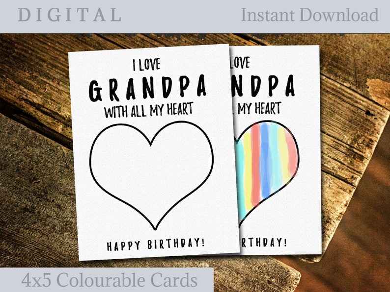 image relating to Grandpa Birthday Card Printable known as Grandpa birthday card versus Grandchild, Printable greeting playing cards Grandfather, Colorable Card for Youngsters, Do-it-yourself card for him, Fast Down load
