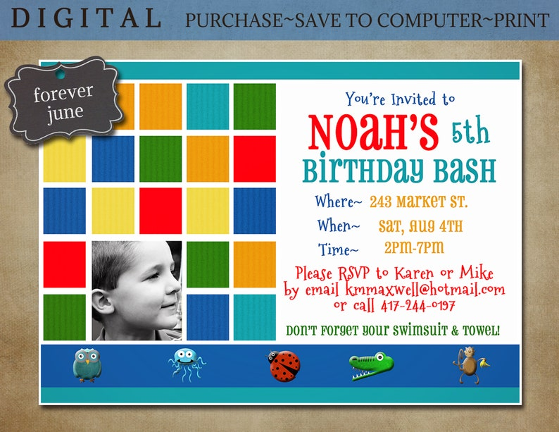 Childrens DIY Birthday Invite Digital Printable Party Request Personalized With Childs Photo Online Celebration Ideas Colourful Invites