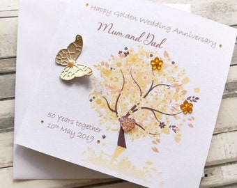 50th Anniversary Card Golden 50 1970 Year You Were Married Facts Inside Card