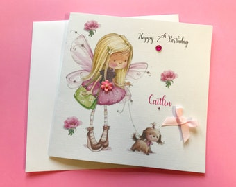 Girls Birthday Card Daughter Goddaughter Granddaughter Niece Sister Cousin Friend 3D Flowers And Diamantes Fairy Dog