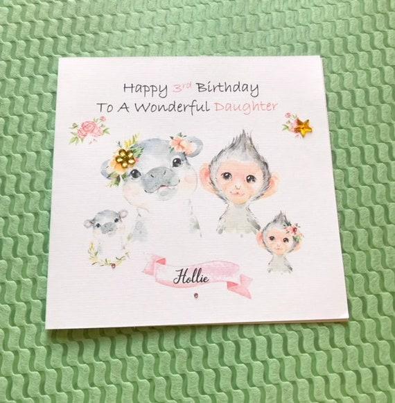 Handmade Personalised Moana Birthday Card Daughter Granddaughter Niece Sister