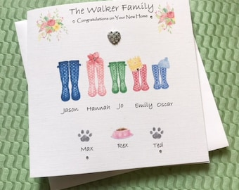 New Home water colour card handmade and personalised/ family name/ individual names/ pets - cats/ dogs/ congratulations card/ New home gift